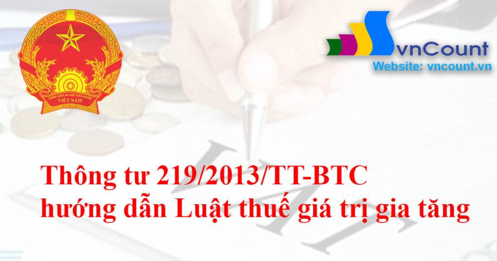 Thông tư số 219/2013/TT-BTC của Bộ Tài chính