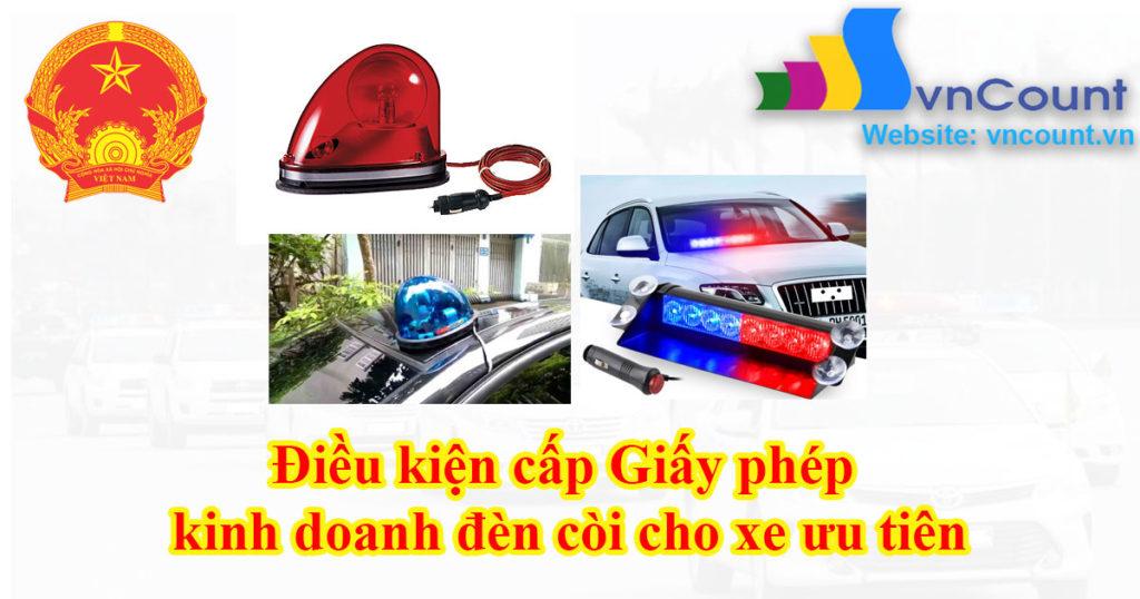 Điều kiện đăng ký kinh doanh thiết bị phát tín hiệu đèn, còi xe ưu tiên