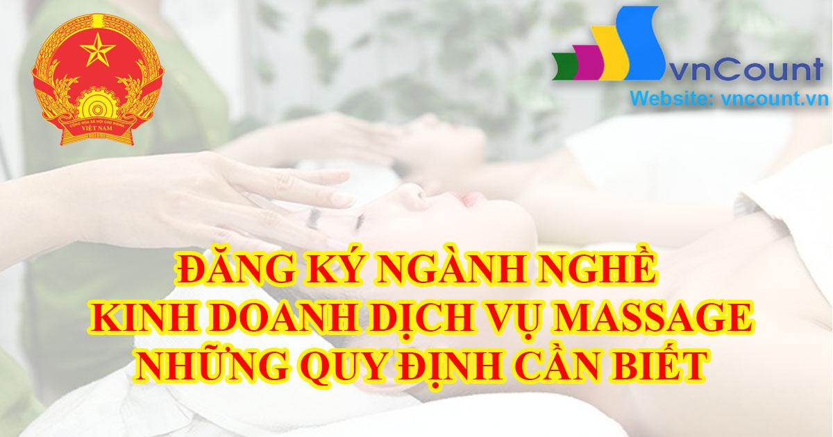 Điều kiện đăng ký ngành nghề kinh doanh dịch vụ xoa bóp massage