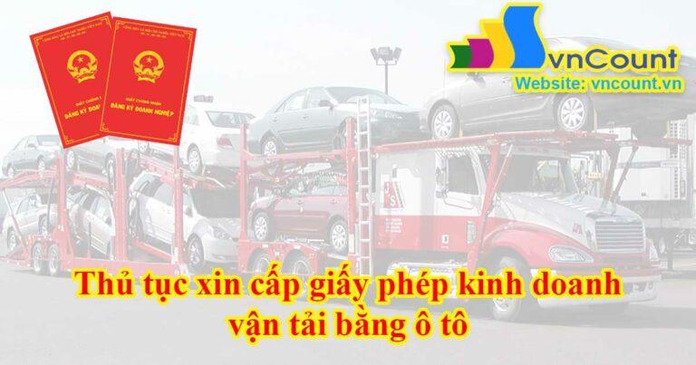giấy phép kinh doanh vận tải bằng ô tô
