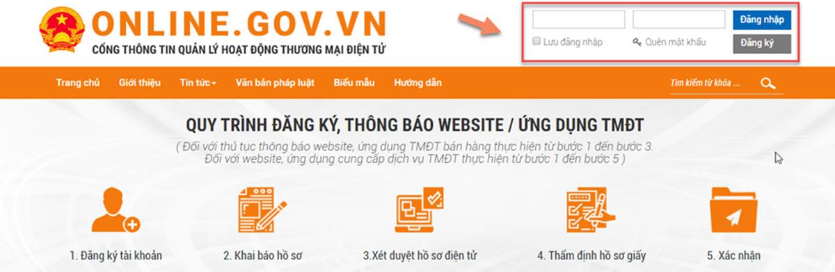 đăng nhập tài khoản vào website bộ công thương
