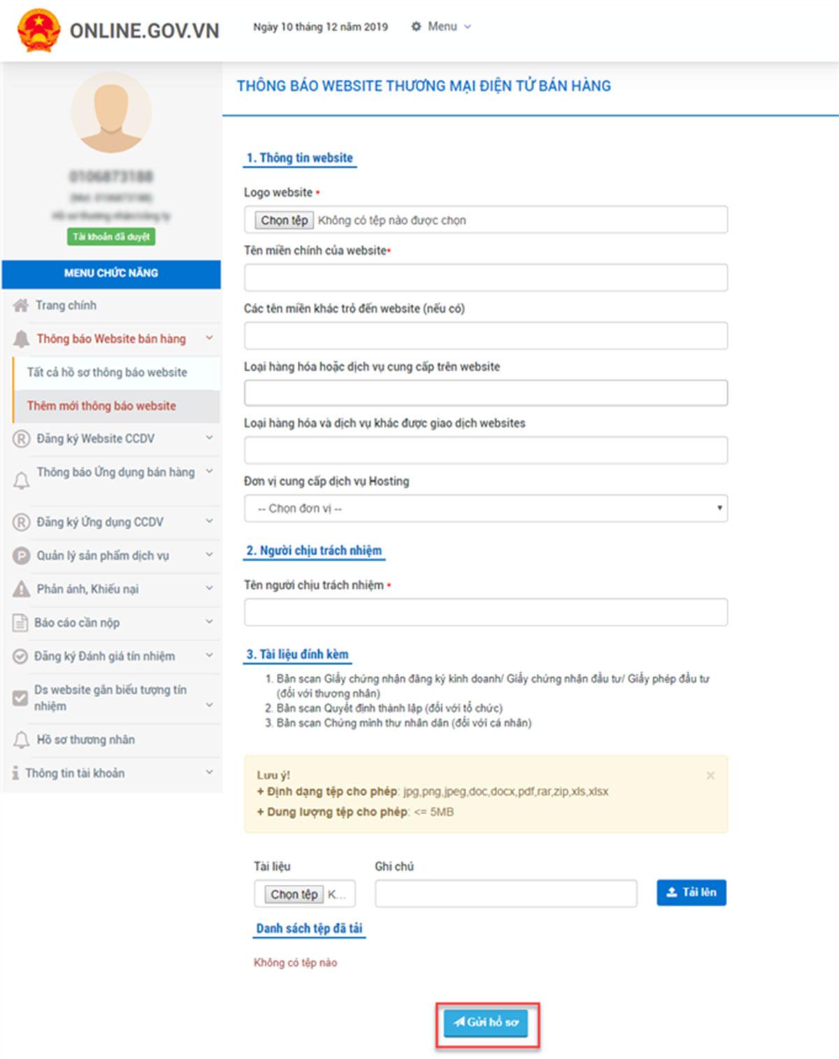 điền thông tin website cần thông báo với bộ công thương