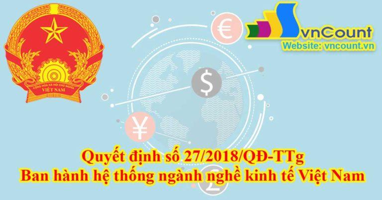 Ban hành hệ thống ngành nghề kinh tế Việt Nam