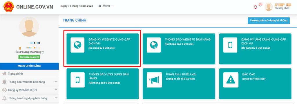chọn mục đăng ký website với bộ công thương
