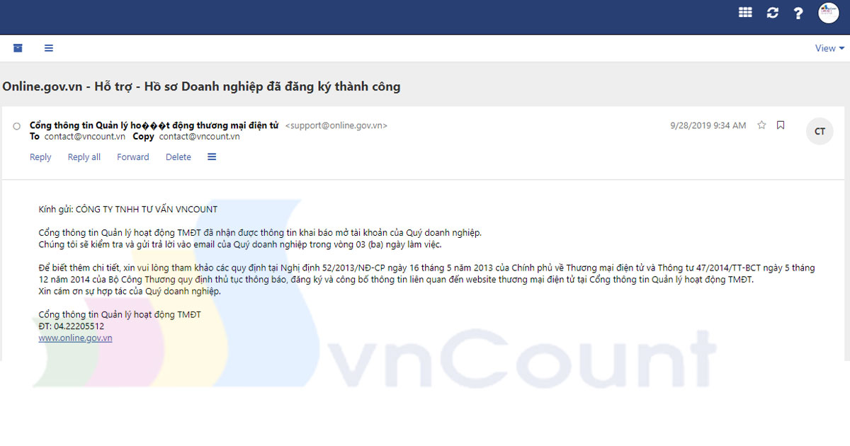 email thông báo của bộ công thương về hồ sơ đăng ký đã tiếp nhận