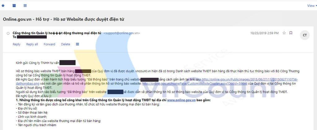 email thông báo hồ sơ đăng ký website đã được bộ công thương duyệt