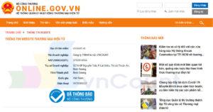 logo và thông tin chứng nhận website đã thông báo thành công với bộ công thương