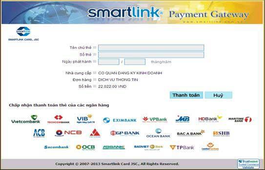 các thông tin thẻ cần khai báo khi thực hiện thanh toán trực tuyến trên