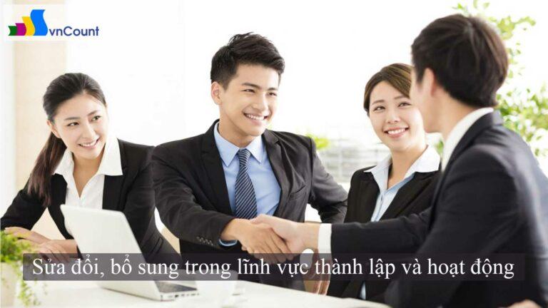 Sửa đổi, bổ sung trong lĩnh vực thành lập và hoạt động