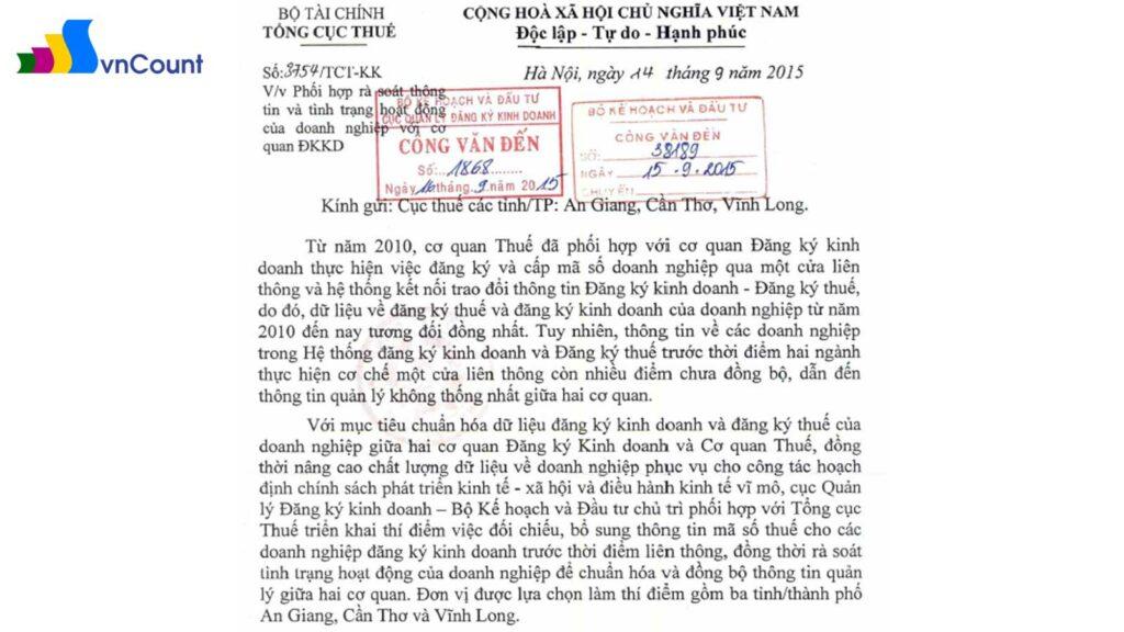 văn bản số 3754 TCT KK ngày 14 9 2015 của Tổng Cục thuế