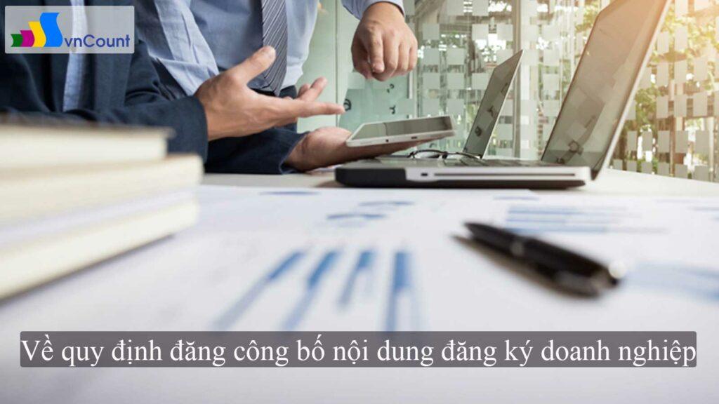 về quy định đăng công bố nội dung đăng ký doanh nghiệp