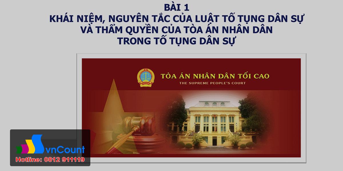 Khái niệm, nguyên tắc của Luật tố tụng dân sự Việt Nam và thẩm quyền của tòa án trong tố tụng dân sự Việt Nam