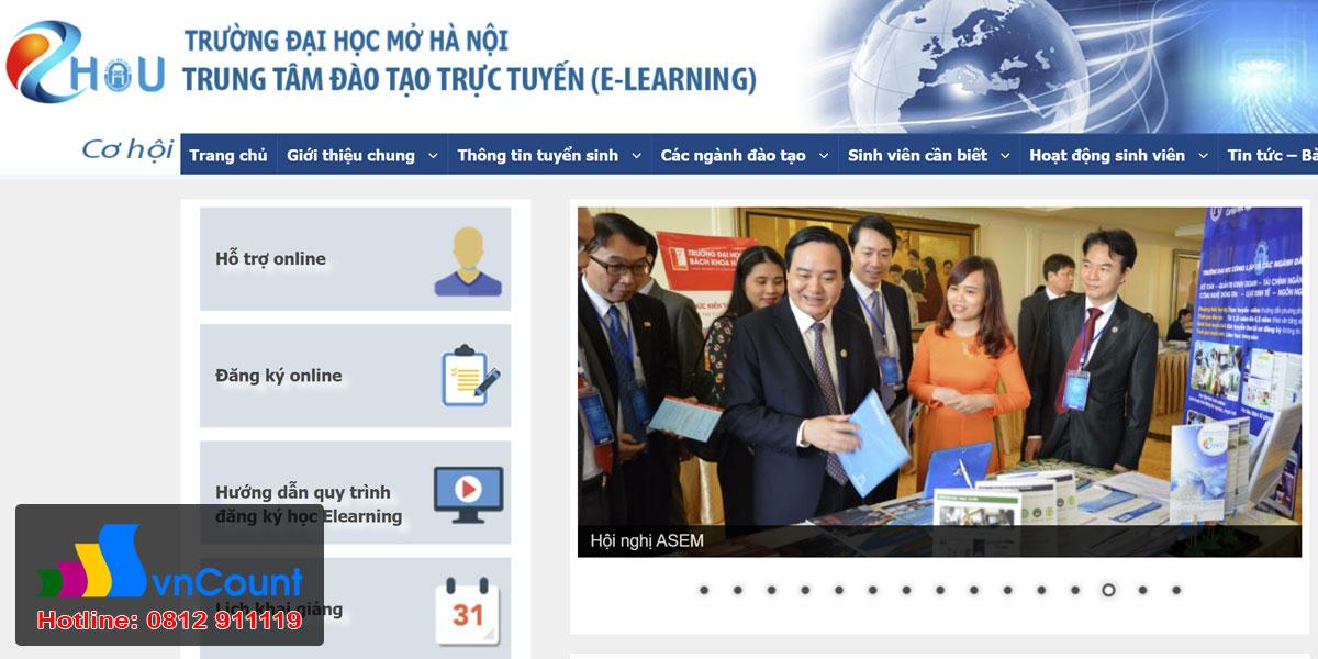 đào tạo e-learning tại trường đại học Mở Hà Nội EHOU
